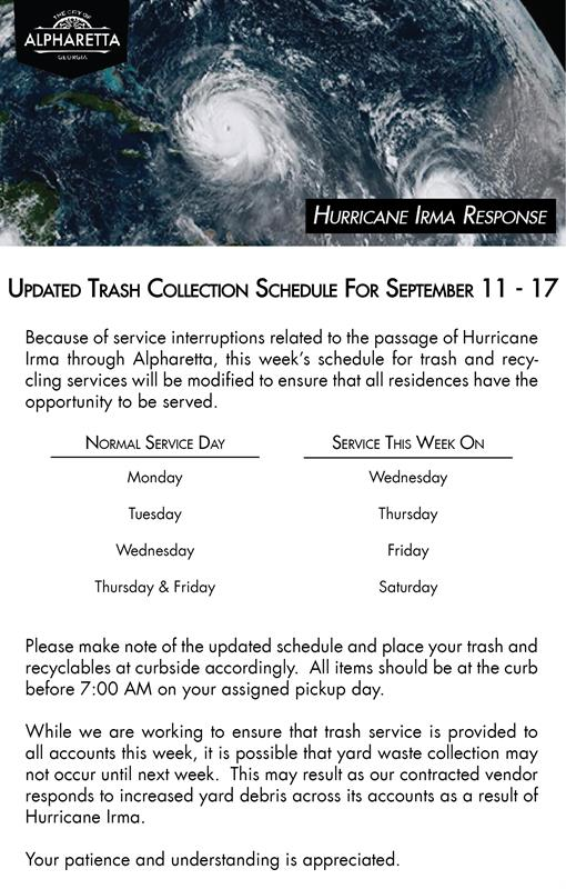 Trash Recycling Collection Schedule