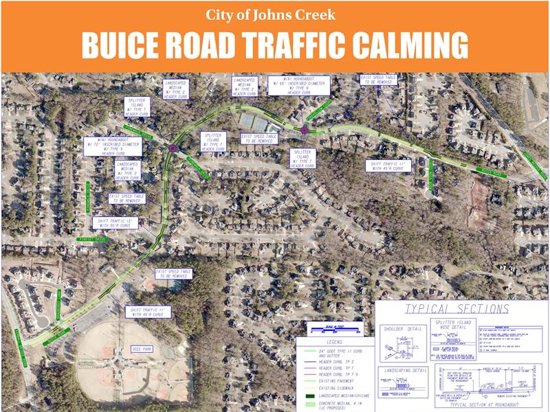 Map of planned traffic calming improvements to Buice Road