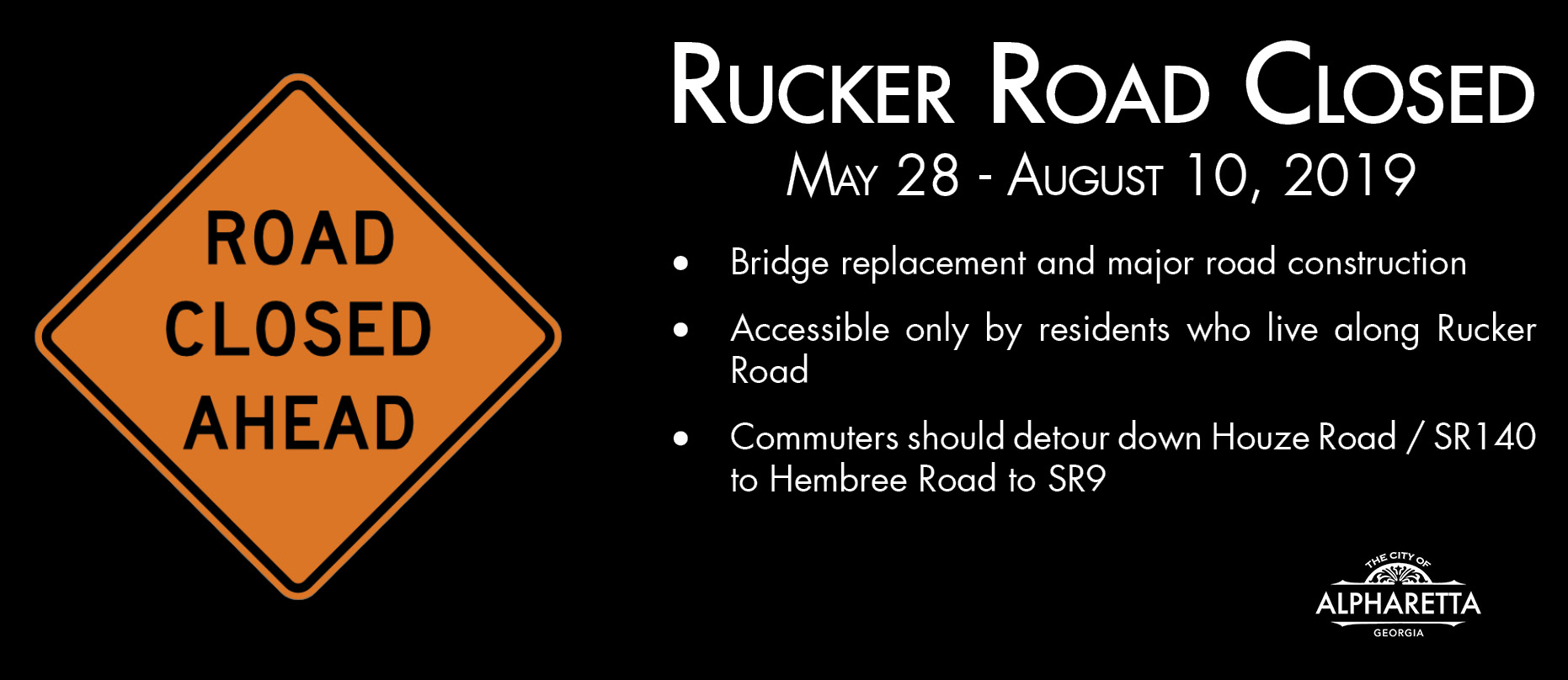 Rucker Road Closure Graphic