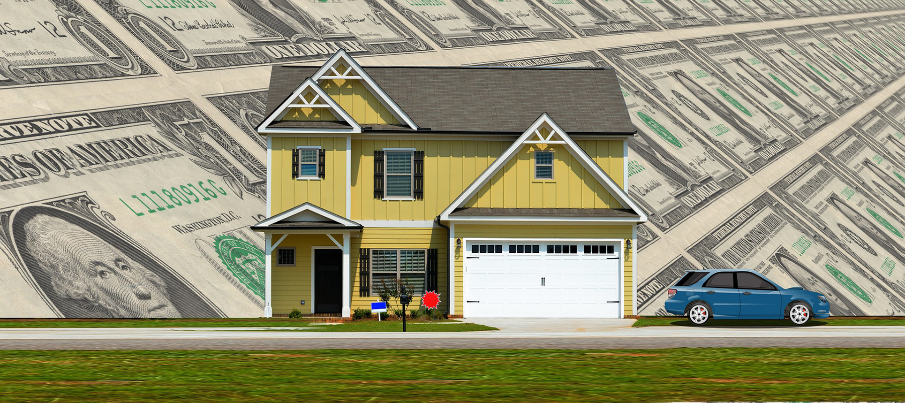Image of house with dollars bills in background